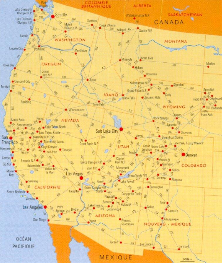 Carte des distances for Agence paysage de l ouest
